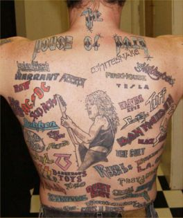 One back of tattoos that sums up all the bands I hate. Picture