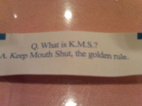 All excited to get my fortune out of the cookie then I see this.. WTF Picture